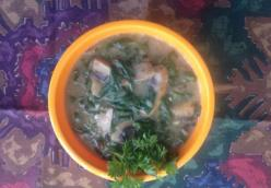 Coconut,  Spinach and Mushroom Soup